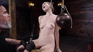 Naked blonde is chair tied and tortured by her master